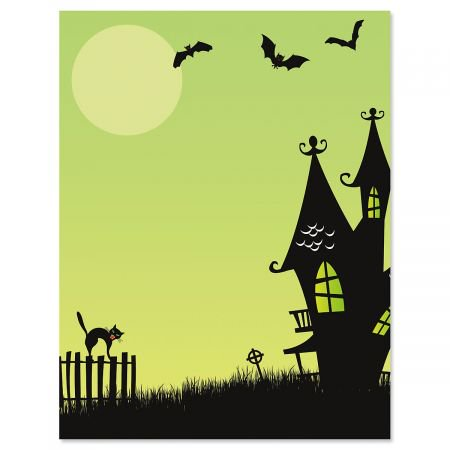 Halloween Design Paper (Green Haunted House Halloween Letter Papers - Fall letter papers are 8-1/2