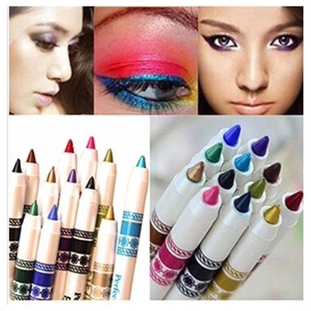 Makeup Eye Shadow Pen Glitter Lip liner Eye Liner Pencil Pen Cosmetic Makeup 12pcs/Set (Eyeliner Makeup For Halloween)