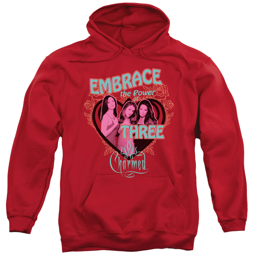 CHARMED/EMBRACE THE POWER-ADULT PULL-OVER HOODIE-RED-MD