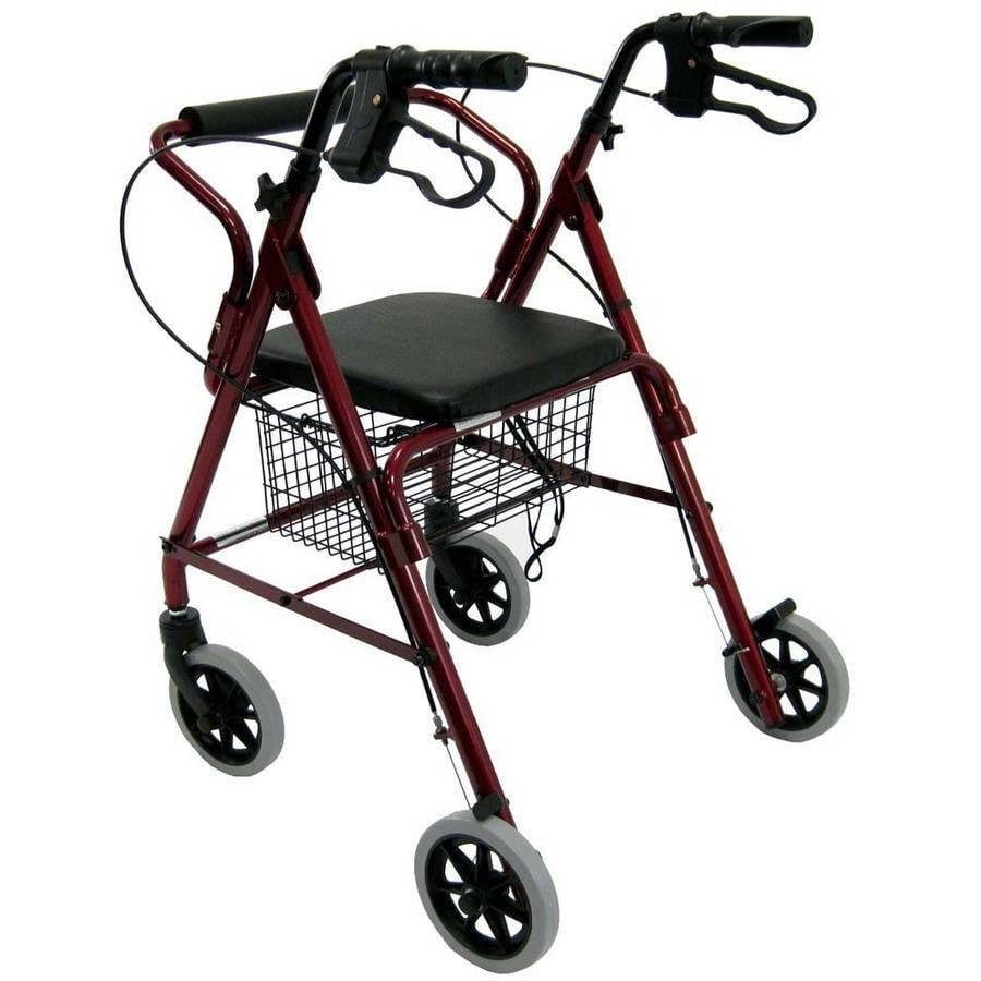 Karman R-4100 Junior Low Seat Hemi Rollator with Seat and Basket, Burgundy
