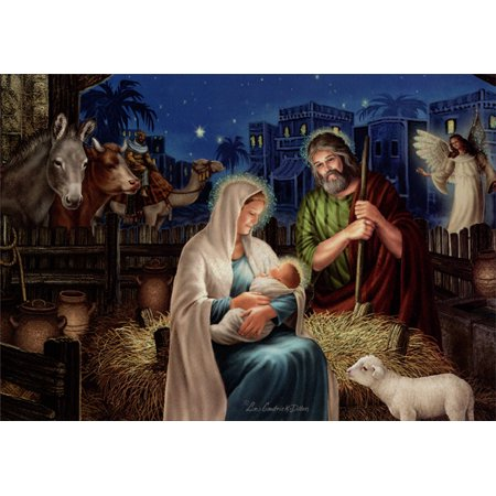 LPG Greetings Holy Family: Liz Goodrick Dillon Deluxe Glitter Religious Christmas (Paper Holy Cards)