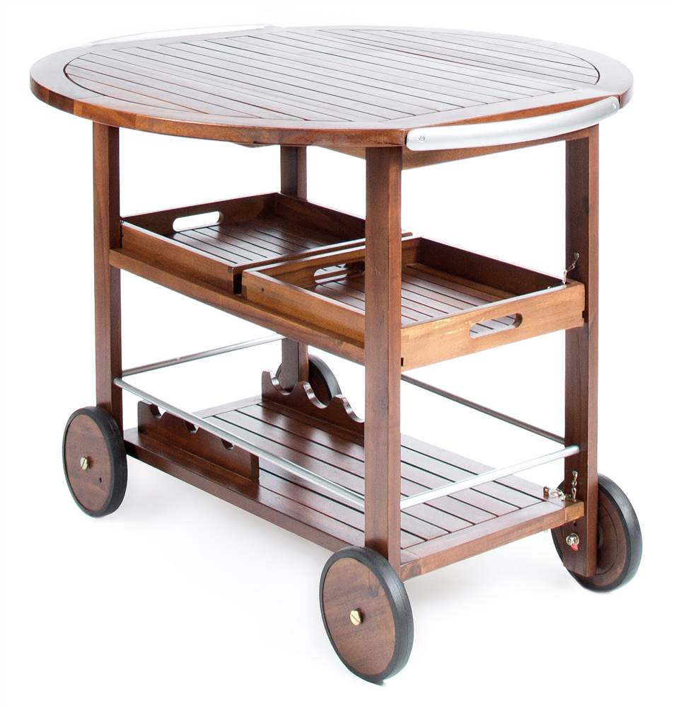 Bar Cart in Dark Oak and Shiny Powder Coating