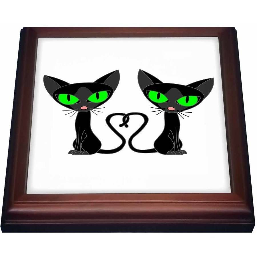 3dRose Black Cat Tail Heart, Trivet with Ceramic Tile, 8 by 8-inch