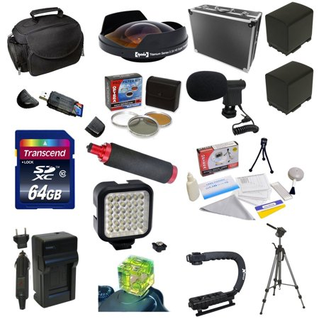 All Sport Kit for Canon Vixia HF G10 HF G20 HF G30 HF S20 HF S21 HF S30 HF S200 with 64GB Memory Card, 5 Piece Filter Kit, 0.3X Lens, 2 BP-819 Battery, X-GRIP, LED Light, Microphone, Gadget Bag + More