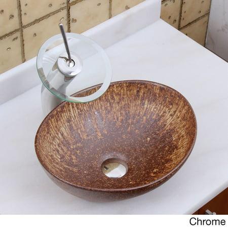Cast Iron Porcelain Sink - Elite  1564 F22T Oval Matt Iron Ore Glaze Porcelain Ceramic Bathroom Vessel Sink Waterfall Faucet Combo