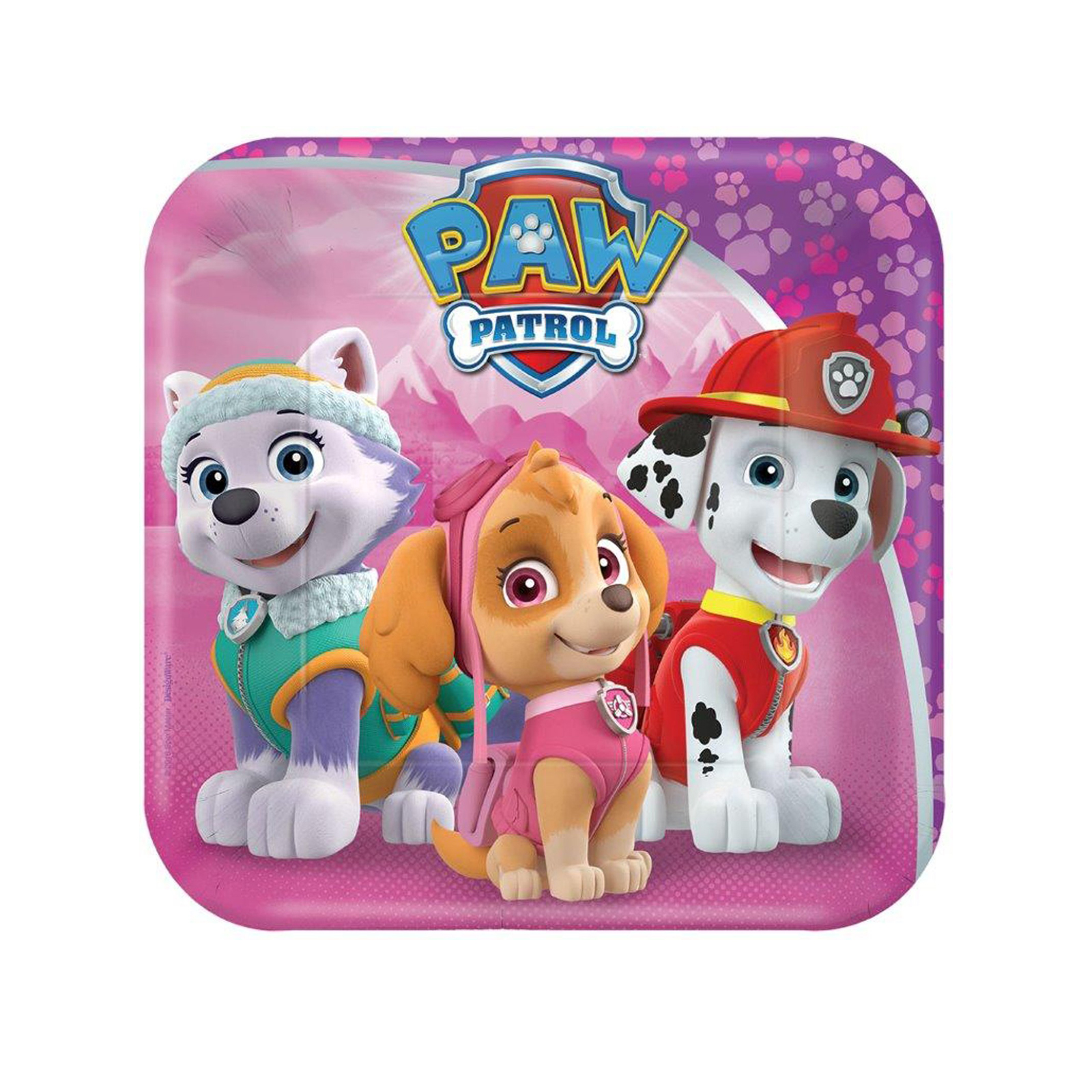 "9"" PAW Patrol Pink Square Paper Party Plate, 8ct"