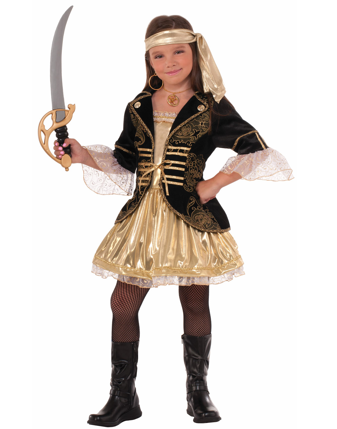 Golden Seas Girls Child Pirate Buccaneer Halloween Costume by