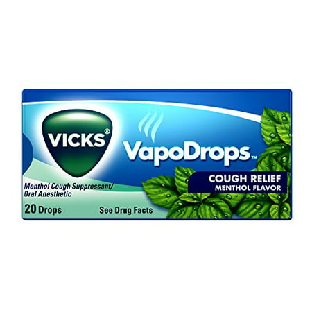 2 Pack Vicks VapoDrops Effective Menthol Cough Relief Drops 20 Count (Most Effective Over The Counter Cough Medicine)