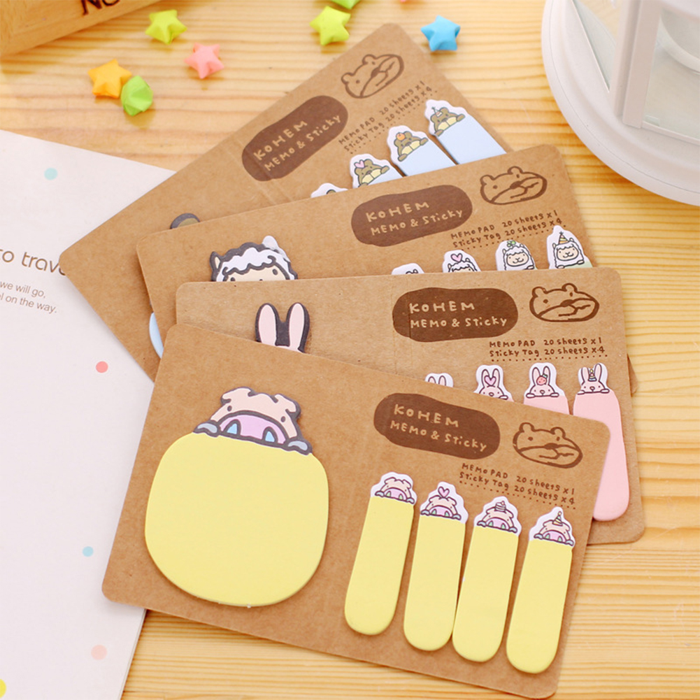 1Pack Cute Cartoon Animal Sticker Notes Flag Bookmark Page Marker Memo Random Style by