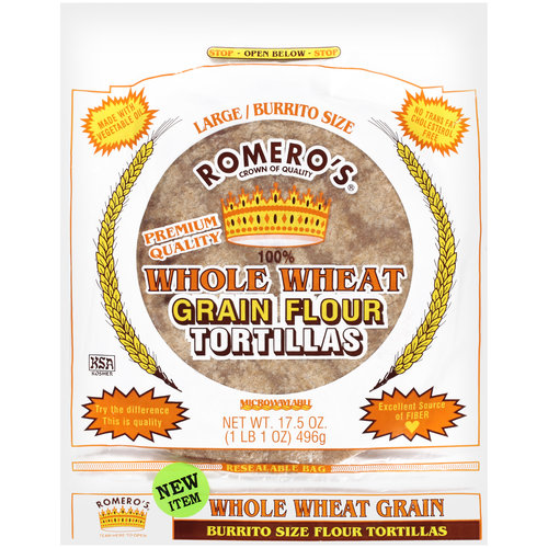 Romero's Whole Wheat Grain Flour Tortillas, 17.5 oz