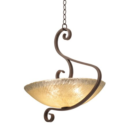 Pendants 5 Light Bulb Fixture With Tortoise Shell Finish Antique Filigree Glass Hand Forged Iron and Glass E26 25