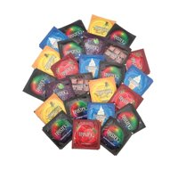 Trustex Flavors & Colors + Silver Pocket Case, Fun Assortment of Lubricated Latex Condoms-24 Count