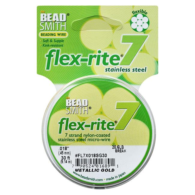 "BeadSmith Flex-Rite Beading Wire, 7 Strand .018"" Thick, 30 Foot Spool, Metallic Satin Gold"