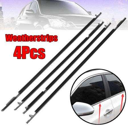 4PCS Car Outside Window Moulding Weatherstrip Trim Seal Belt ABS Plastic Black For Civic