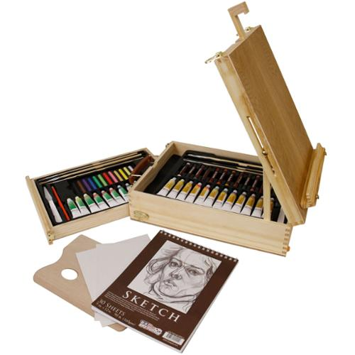 US Art Supply 62 Piece Deluxe Artist Painting Set Oil & Acrylic BONUS Sketch Pad