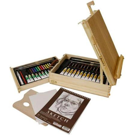 US Art Supply 62 Piece Deluxe Artist Painting Set Oil & Acrylic BONUS Sketch - Oil Painting Set
