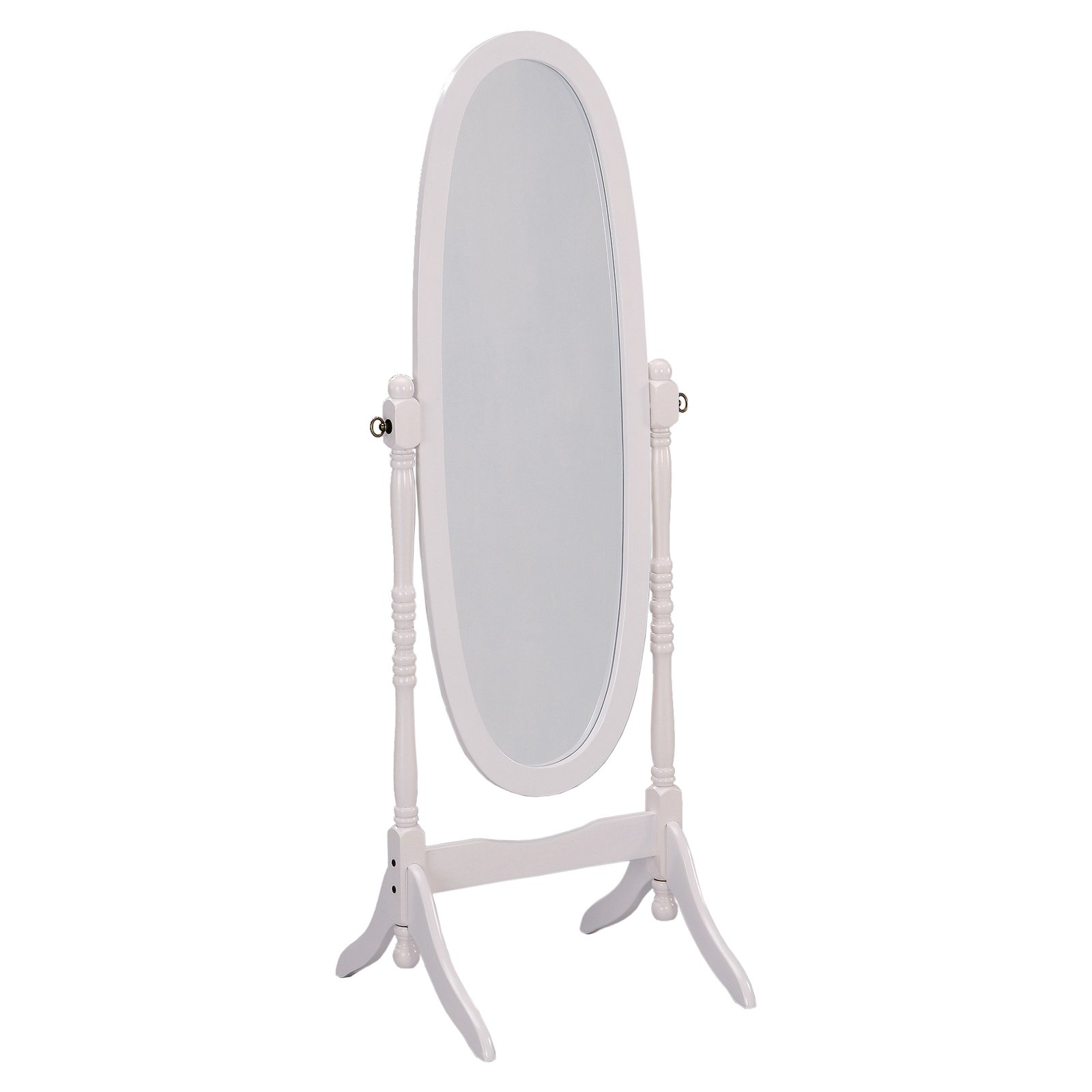 "Ore International White Finish Oval Wood Cheval Floor Standing Mirror   59.5"" Tall by Ore International"