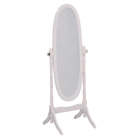 Ore International White Finish Oval Wood Cheval Floor Standing Mirror - 59.5