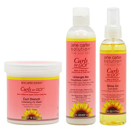 Jane Carter Curls To Go Curl Drench Cleansing Co Wash 16Oz   Untangle Me Leave In 8Oz   Shine On Curl Elixir 6Oz  Combo