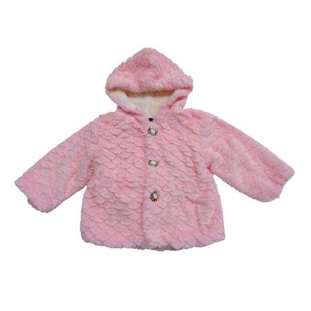 Girls Pink Faux Fur Jacket (Little Girls Pink Scalloped Pattern Faux Fur Hooded Long Sleeve Jacket)