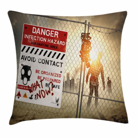 Halloween Pillow Cases (Zombie Decor Throw Pillow Cushion Cover, Dead Man Walking Dark Danger Scary Scene Fiction Halloween Infection Picture, Decorative Square Accent Pillow Case, 16 X 16 Inches, Multicolor, by)
