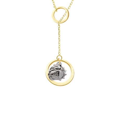 Small Bulldog   Mascot Gold Tone Double Karma Lariat Necklace