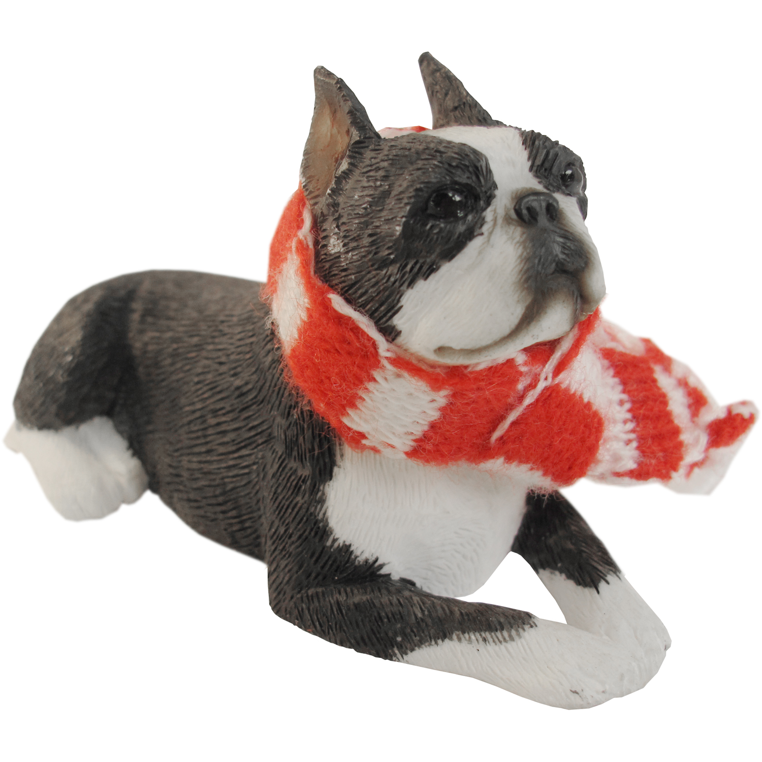 Sandicast Lying Boston Terrier with Scarf Christmas Dog Ornament