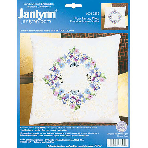 "Floral Fantasy Candlewicking Embroidery Kit-14""X14"""