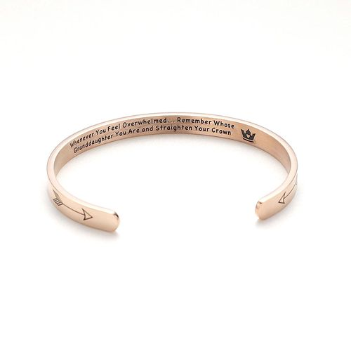 Engraved Inspirational Bracelets Personalized Gift for Mom Best Friend Women and Girls Granddaughter Daughter Sister Whenever You Feel Overwhelmed Remember Whose Straighten Your Crown Bracelet