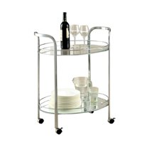 Kingfisher Lane Modern Bar Cart in Chrome