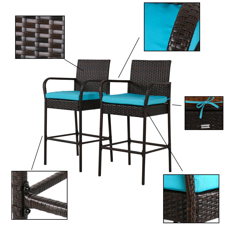Kinbor Outdoor Patio Wicker Barstool Pool Furniture High Chair Blue Cushions