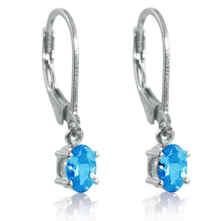 Swiss Blue Topaz Leverback Earrings set in Sterling Silver 1ct tw