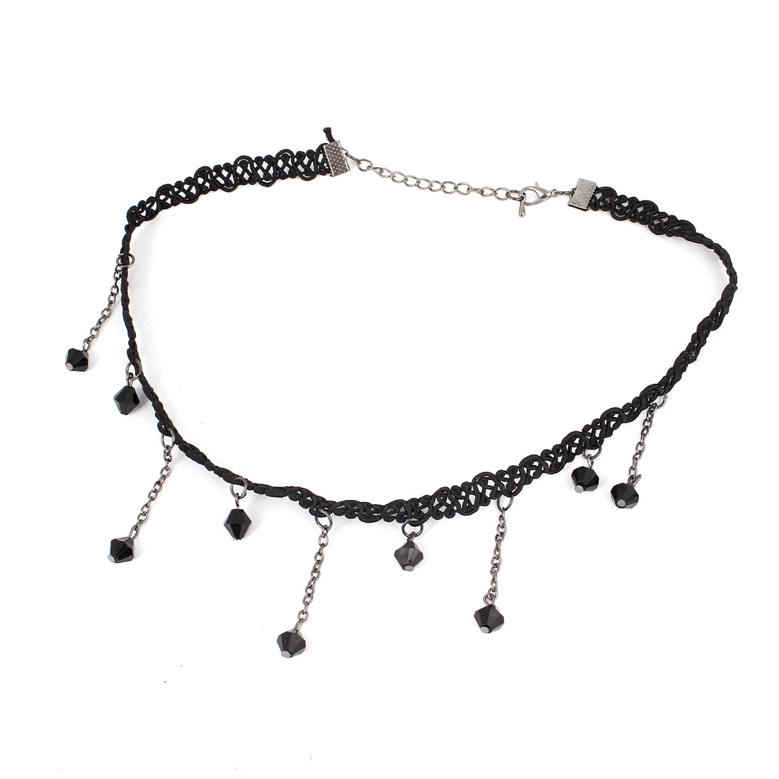 Unique Bargains Banquet Party Dangling Faceted Beads Pendant Weaved Nylon Choker Necklace Black