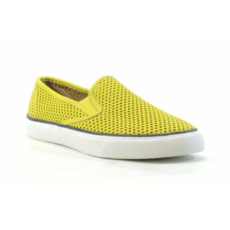 Sperry Top-Sider Women's Seaside Perfed Leather Fashion Sneaker,Yellow