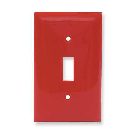 HUBBELL WIRING DEVICE-KELLEMS NP1R Toggle Switch Wall Plate,1 Gang,Red ()