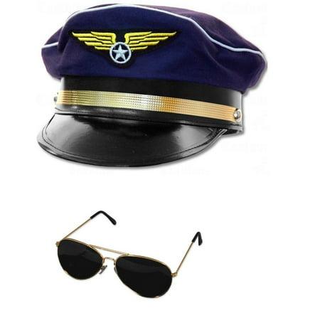 c13c7d30e Adult Airline Aviator Sunglasses And Navy Blue Pilot Hat Cap Costume  Adjustable