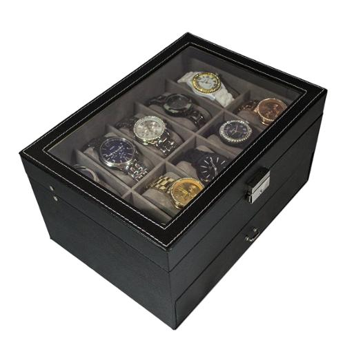 Sorbus Watch Box Large 20 Mens Black Leather Display Glass Top Jewelry Case Organizer