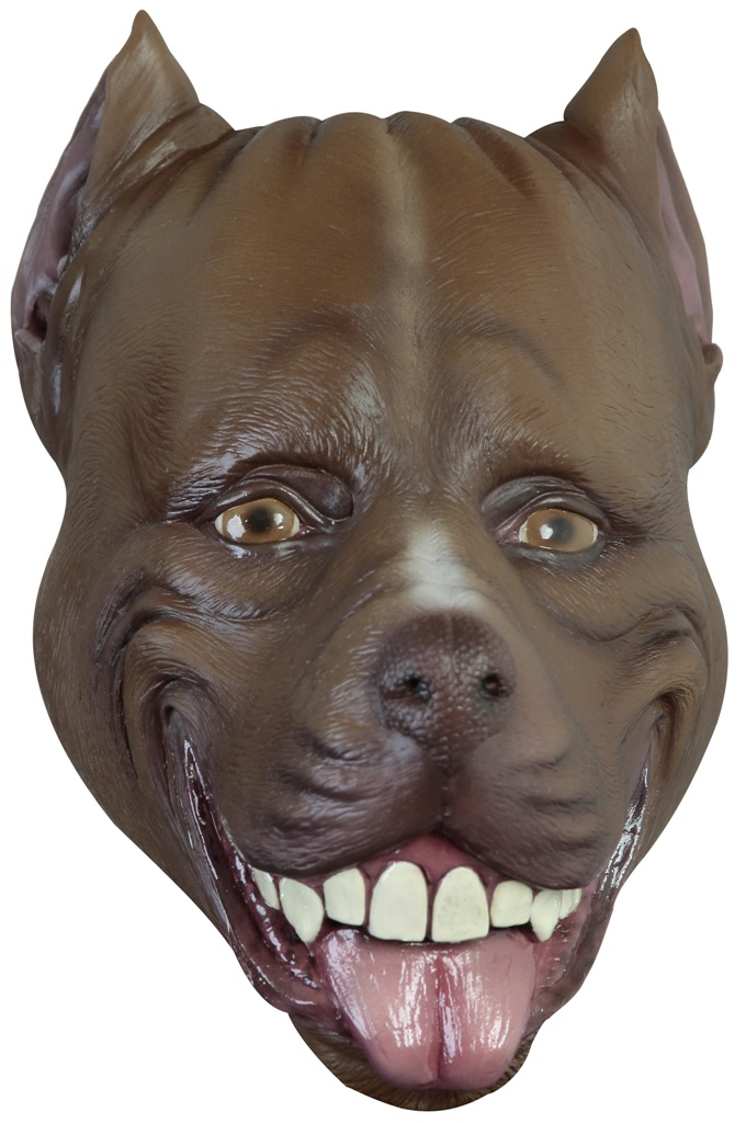 Brown Pitbull Dog Adult Latex Mask Cartoon Anime Cosplay -1070