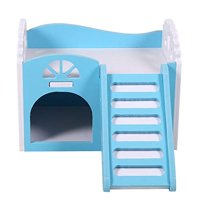 HEEPDD 3Colors Wooden Double Decker Hamster House with Stair Pet Home Hideout Exercise Toys for Squirrels Gerbils Hamsters Go