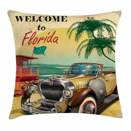 Florida Throw Pillow Cushion Cover, Old Beach Picture with Vintage American Car a Visit to Touristic Coastal State, Decorative Square Accent Pillow Case, 18 X 18 Inches, Multicolor, by Ambesonne