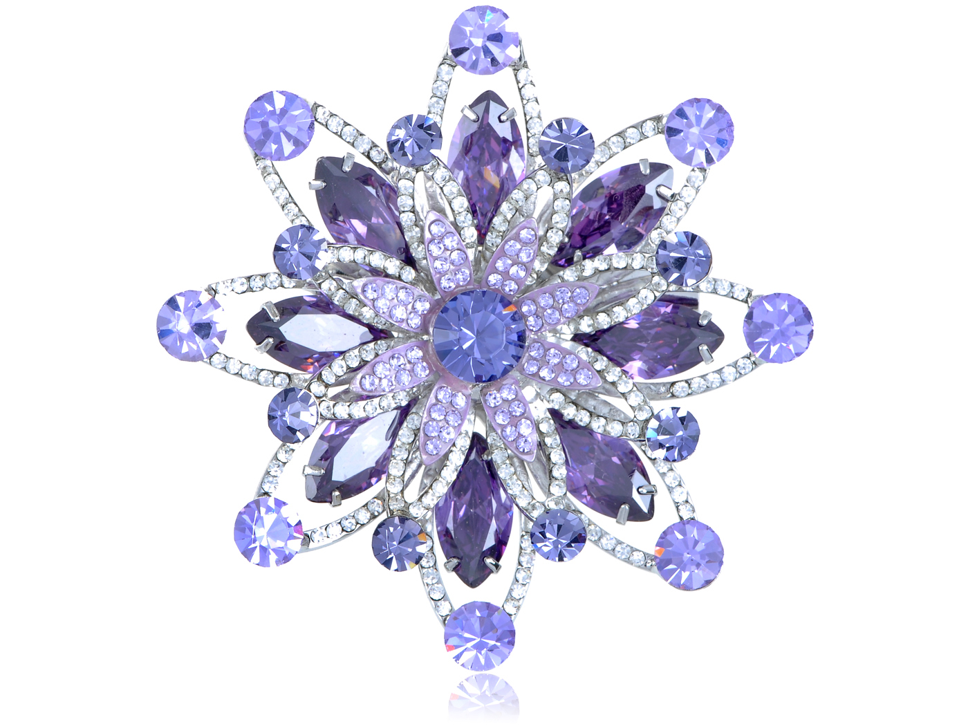 Amethyst Tanzanite Violet Swarovski Crystal Silver Tone Starburst Flower Brooch by