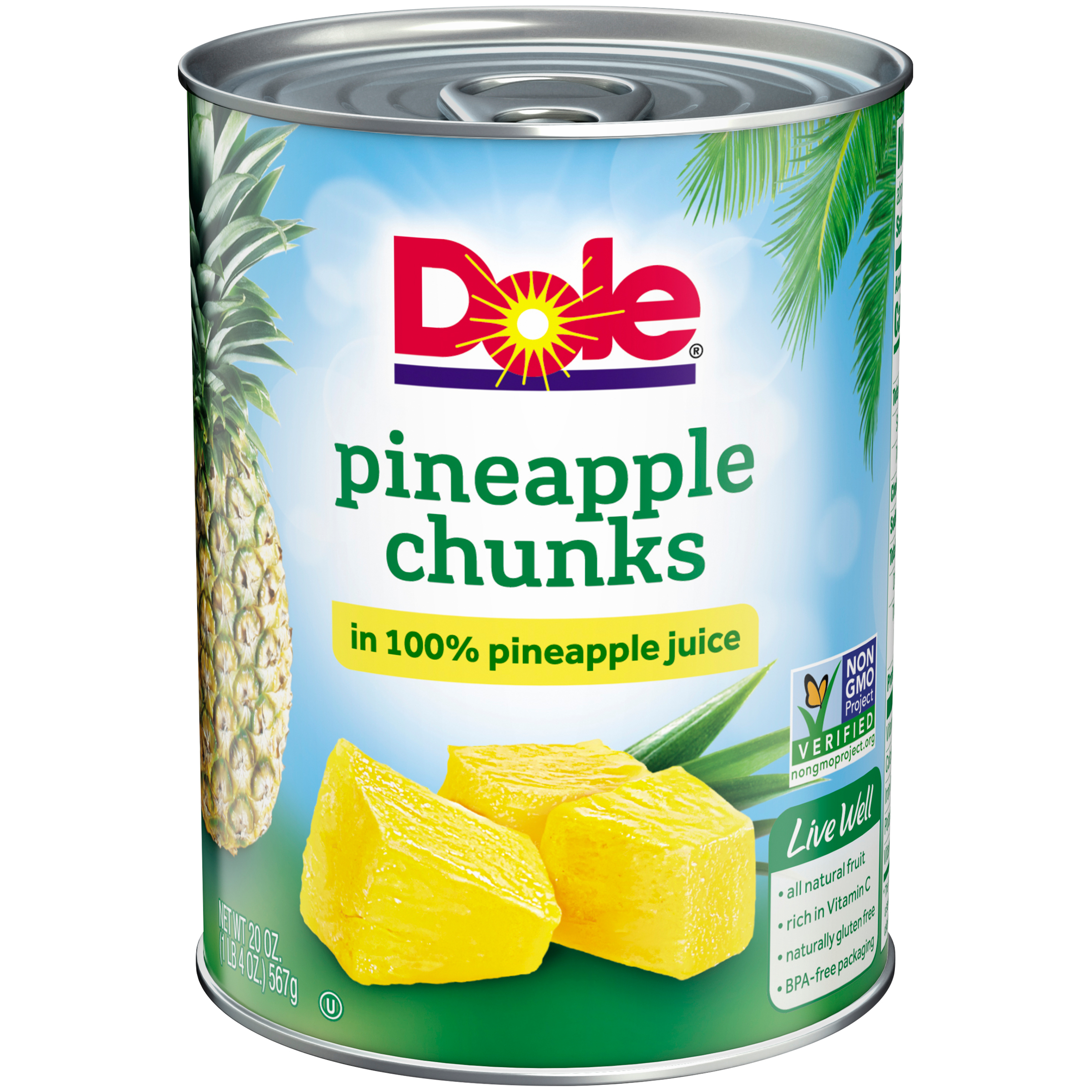 DOLE? Pineapple Chunks in 100% Pineapple Juice 20 oz. Can