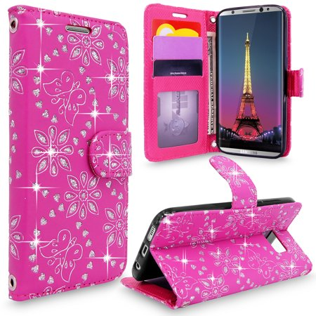 S8 Case, Galaxy S8 Wallet Case, Cellularvilla [Slim] [Card Slot] Premium Pu Leather Wallet Case [Wristlet] [Drop Protection] Flip Protective Stand Cover For Samsung Galaxy