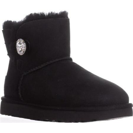 Australia Bailey Button Boot - Womens UGG Australia Mini Bailey Button Short Winter Boots, Black