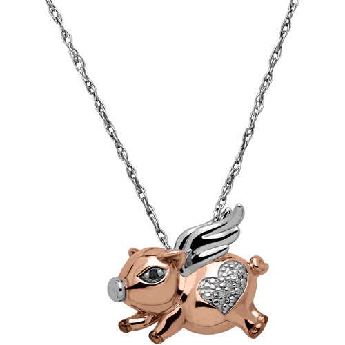 """Petite Expressions Flying Pig Pendant with Black and White Diamond Accent in 18kt Pink Gold over Sterling Silver, 18"""""""