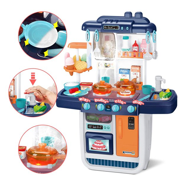 Cute Stone Little Kitchen Playset Kids Play Kitchen With Realistic Lights Sounds Simulation Of Spray Play Sink With Running Water Dessert Shelf Toy Other Kitchen Accessories Set For Girls Boys Walmart Com