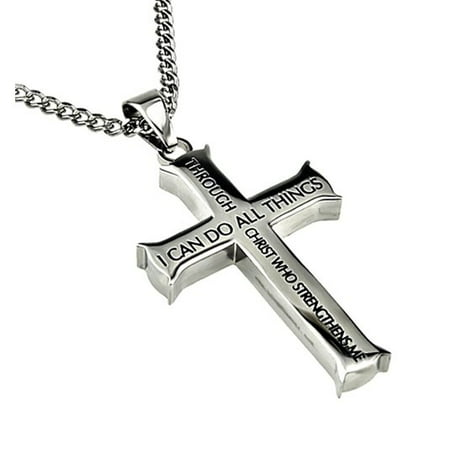 Stainless Steel Gothic Cross (Philippians 4:13 Jewelry Cross Necklace STRENGTH Bible Verse Stainless Steel 20 inch Curb)