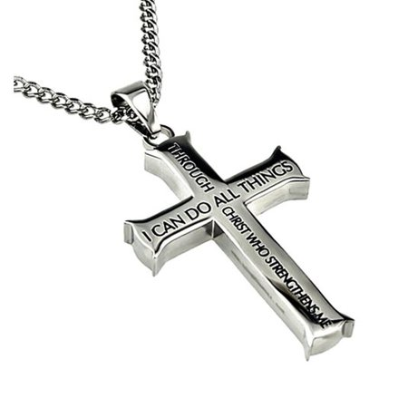 Philippians 4:13 Jewelry Cross Necklace STRENGTH Bible Verse Stainless Steel 20 inch Curb Chain (Cross Ball Chain)