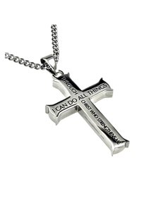 24ae806ea116ce Philippians 4:13 Jewelry Cross Necklace STRENGTH Bible Verse Stainless Steel  Curb Chain