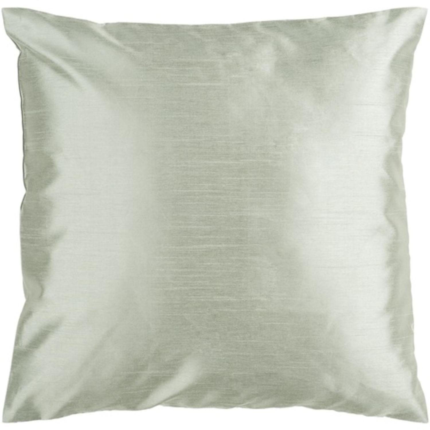 "18"" Shiny Solid Silver Seafoam Decorative Throw Pillow"
